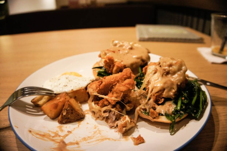 Breakfast in Kuta - tender buttermilk chicken, spinach and poached egg